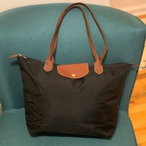 "Longchamp Large Le Pliage Top Handle Tote ""Black"""